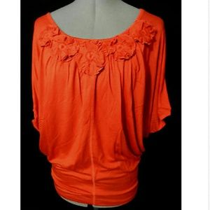 New TIMING Floral Applique Blouse M Burnt Orange
